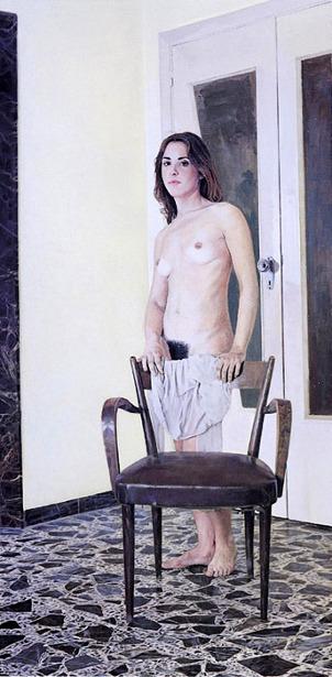 Nudo con sedia e sottana