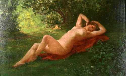 Reclining Nude In The Meadow