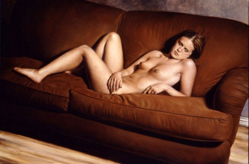 Reclining Nude On Red Sofa