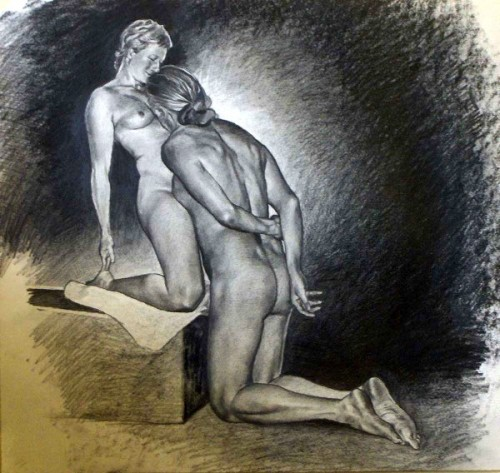 The Study for the sculpture of the lovers