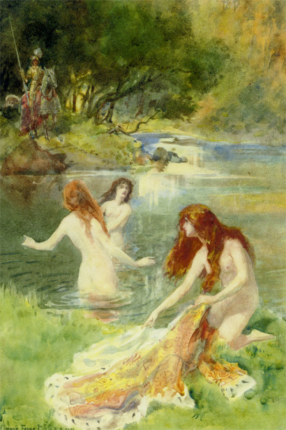 Bathing Maidens Surprised By A Knight