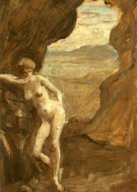 Nude Woman In A Cave Setting