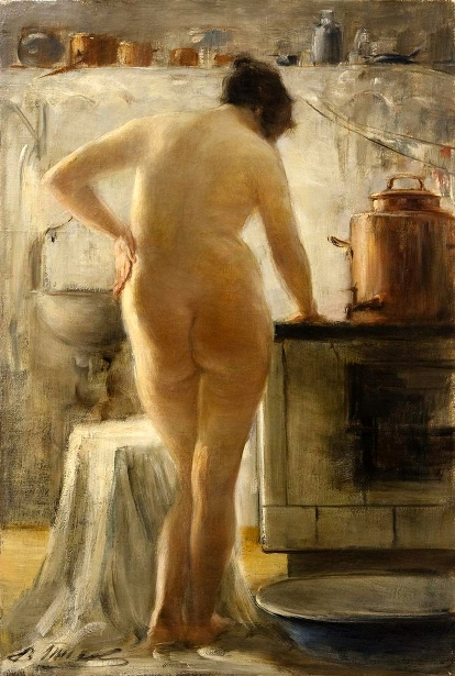 Female Nude In The Kitchen