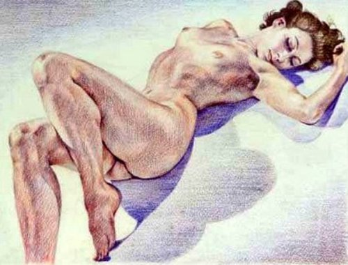 Nude Reclining On Beach