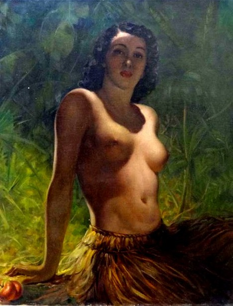 Seated Girl In A Grass Skirt