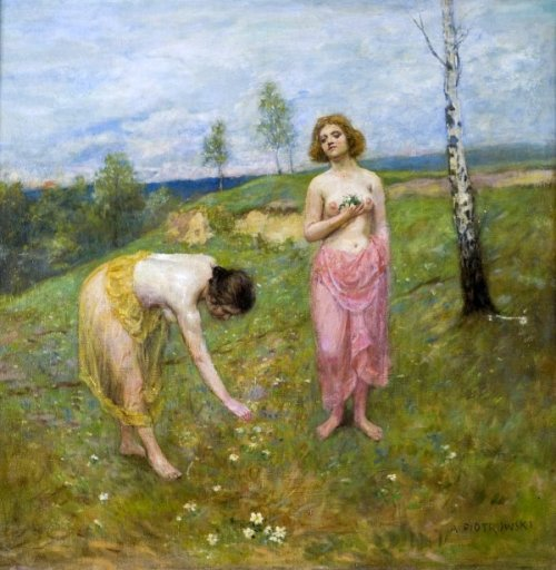 Spring . Girls Gleaning Flowers
