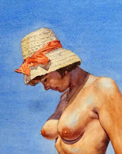 The Red Bow On Topless Woman's Straw Hat
