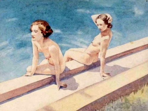 Two Nudes At Pool's Edge