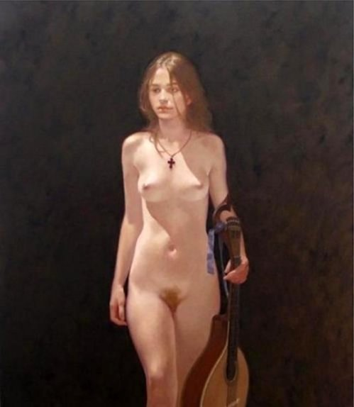 Walking Nude With Mandolin, Recto