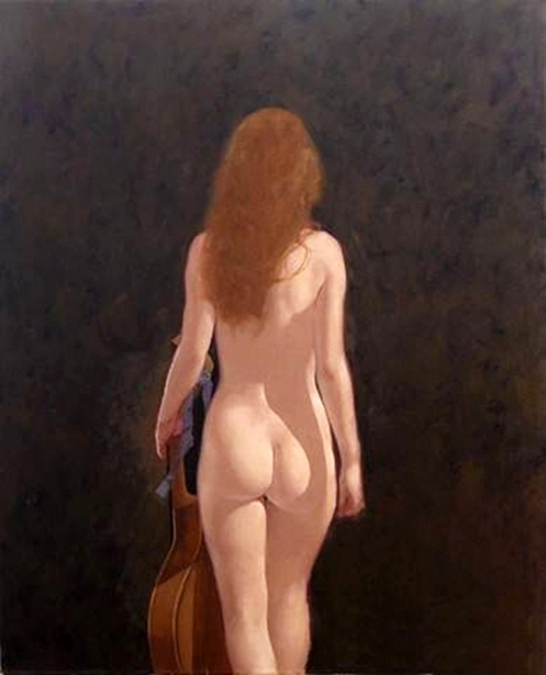 Walking Nude With Mandolin, Verso