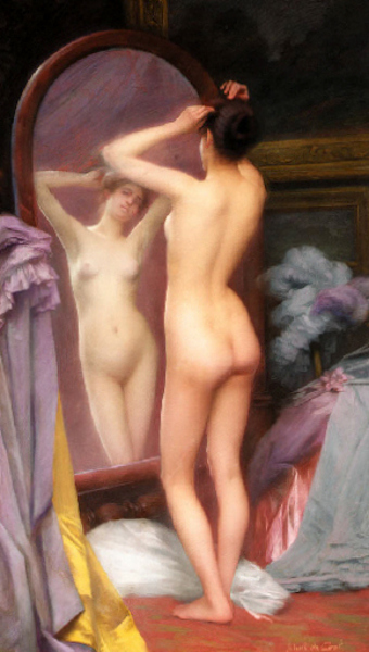 Woman Standing Before A Mirror - In The Boudoir