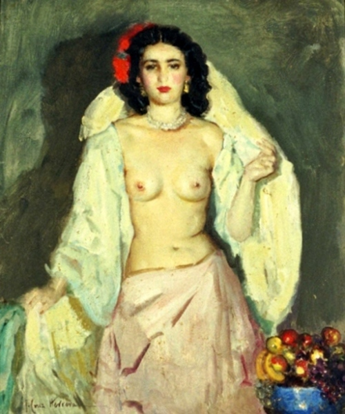 Desnudo con fruta