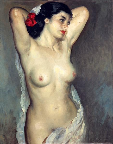 Desnudo con mantilla blanca