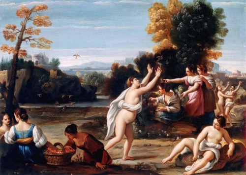 Diana And Her Nymphs Catching Birds