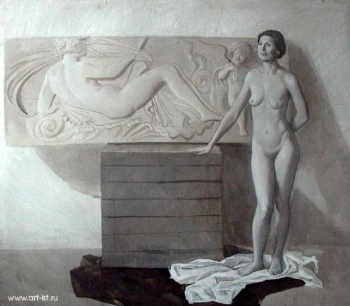 Naked Woman And A Bas-relief