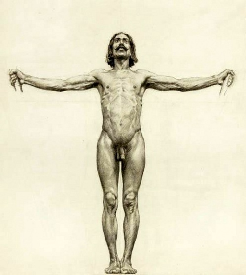 Study Of A Man Nude With Arms Outstretched