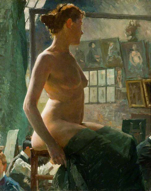 A Female Nude Seated At Julian's Atelier
