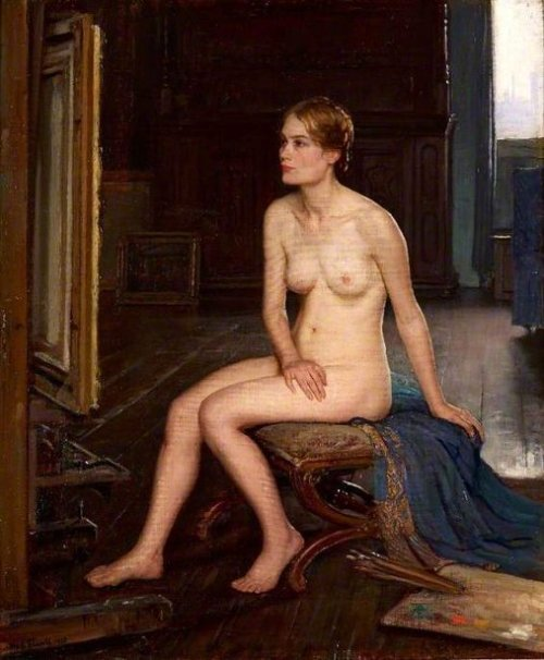 Nude Seated In A Studio