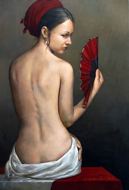 Nude With Red Fan