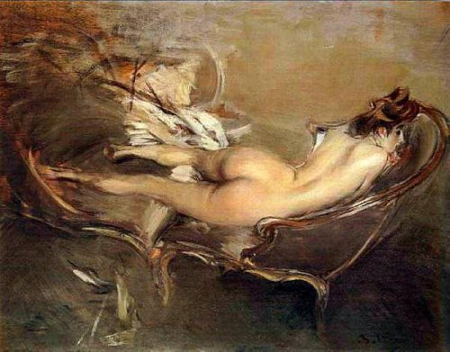 A Reclining Nude On A Day-Bed