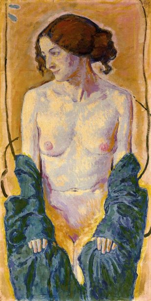 Female Nude With Blue Shawl