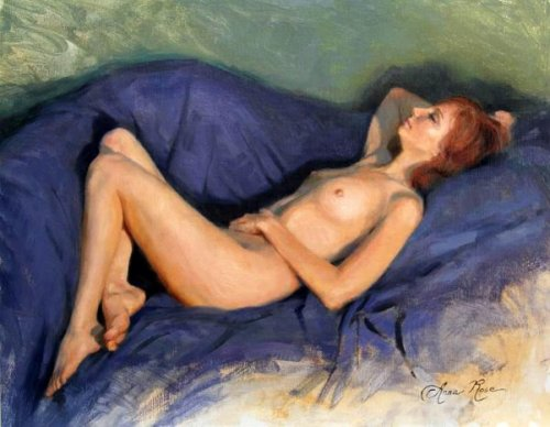 Reclining Nude On Blue