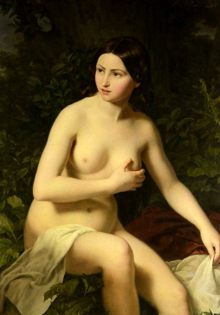 Young Girl Sitting Nude About To Take A Bath