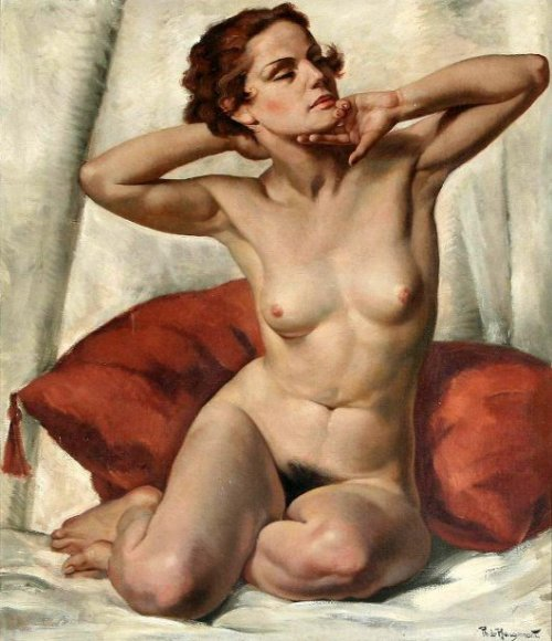 Young Naked Woman Seated En Face To The Right