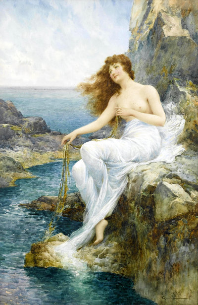 A Sea Maiden Resting On A Rocky Shore