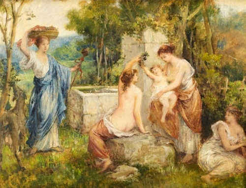 Bathers At A Fountain Pool