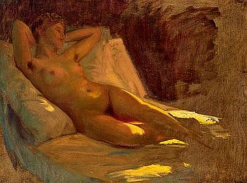 Female Nude In Oblique Light