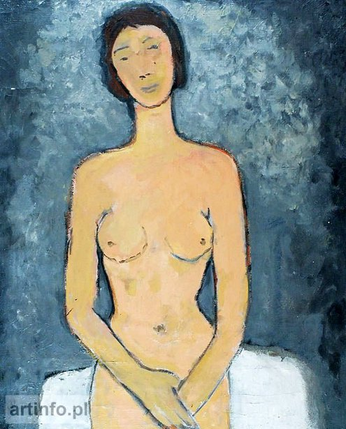 Seated Nude On A Grey Background