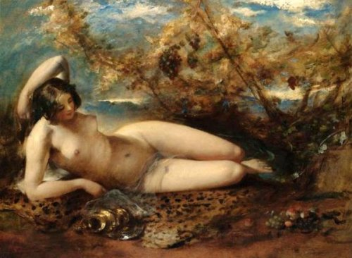 A Young Woman Reclining On A Fur Rug - A Woodland Nymph