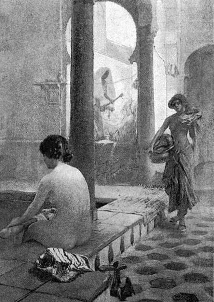 Arabian Woman Bathing In Tunis