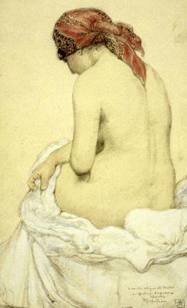 Etude de femme nue et assise