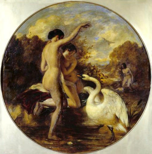 Female Bathers Surprised By A Swan