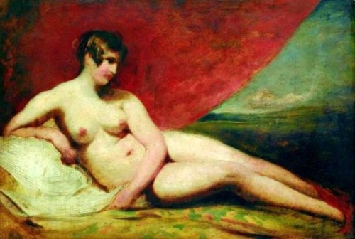 Naked Woman With Red Drapery