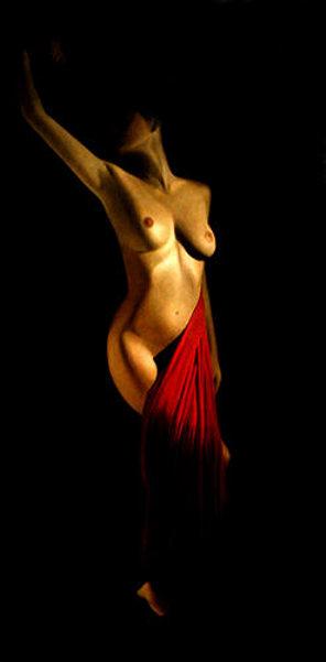 Belinda With Red Drape