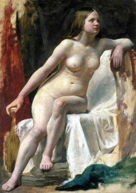 Life Study Of A Female Nude Model Seated On White Drapery