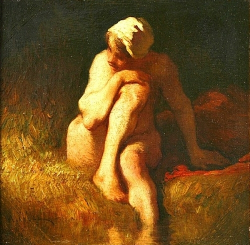 Naked Peasant Girl At The River