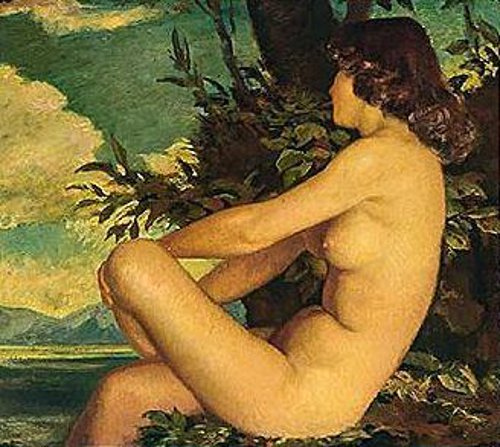 Nude Girl Sitting On The Shore