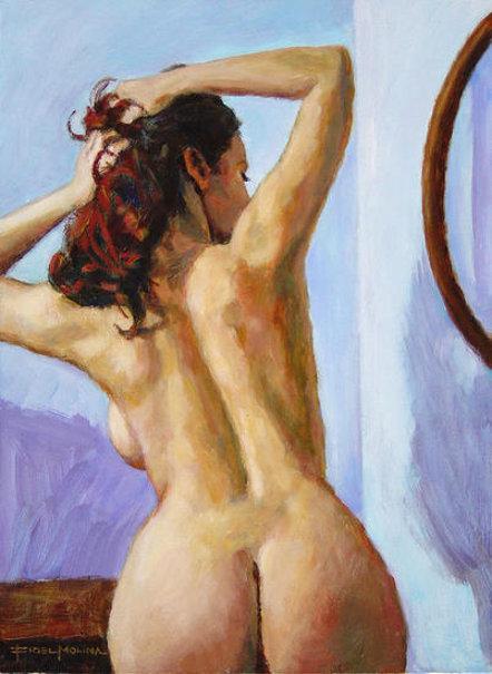 Recogido frente al espejo