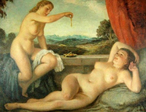 Two Nude Maidens Eating