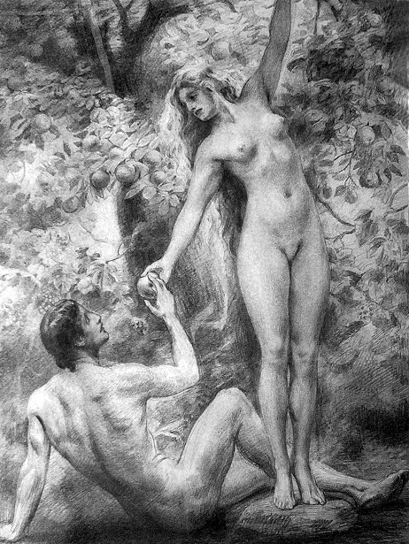 Adam And Eve, Eve Handing Adam The Apple