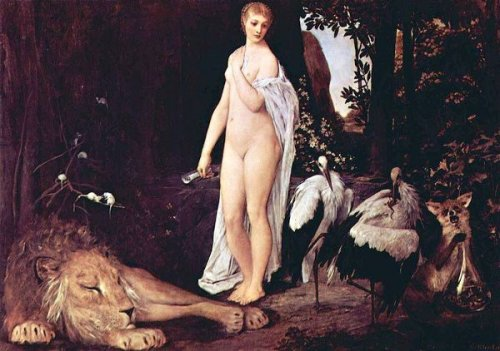 Female Nude With Animals In A Landscape - The Fable