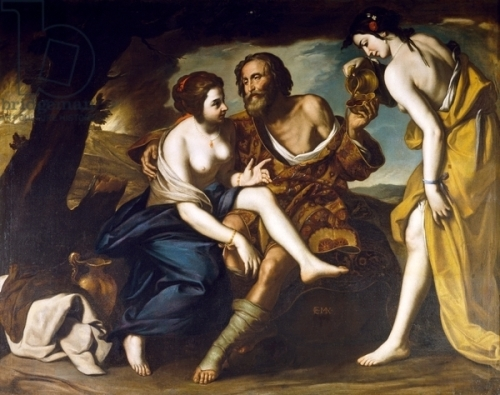 Lot and his daughters, by Massimo Stanzione (1585-1656), oil on canvas