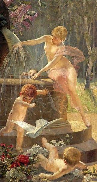 Cherubs And A Fairy At A Fountain