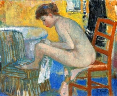 Eugenie à la sortie du bain, assise sur la chaise rouge