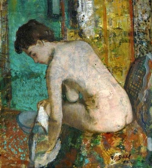 Eugenie nue à sa toilette, devant le paravent