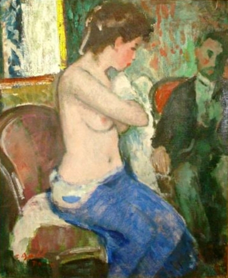 Interior With Seated Nude And Gentleman